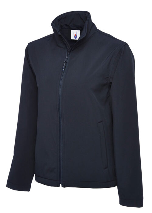 Classic Full Zip Soft Shell Jacket in Navy Blue
